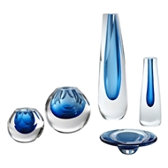 Global Views Cobalt Cut Glass Vase 6.6027
