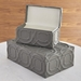 Global Views Grey Arabesque Trapunto Decorative Leather Box 9.9214