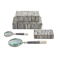 Global Views Grey-Ivory Bone Handle Magnifying Glass 9.9300