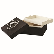 Global Views Layered Circle Hair-on-Hide Decorative Box - Black 9.92604
