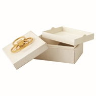 Global Views Layered Circle Hair-on-Hide Decorative Box - Ivory 9.92592