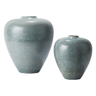 Global Views Silver Blue Check Bulbous Ceramic Vase 7.1011