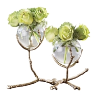 Global Views Twig 2 Vase Holder - Brass 9.92655