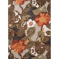 Jaipur Petal Pusher Rug From Blue Collection - Mahogany & Apricot Orange