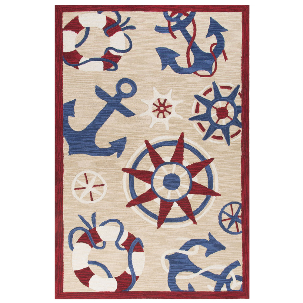 Jaipur Admiral Rug From Coastal Tides Collection COT12   Natural/Red ...