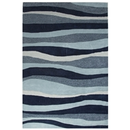 Jaipur Dock Rug From Coastal Tides Collection COT05 - Blue/Ivory