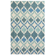 Jaipur Flamestitch Rug From Catalina Collection CAT01 - Blue/Ivory