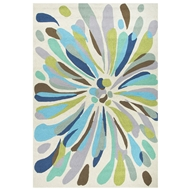 Jaipur Flowerburst Rug From Colours Collection CO16 - Multi-Colored/Blue