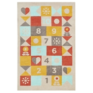 Jaipur Hopscotch Rug From Iconic By Petit Collage Collection IBP03 - Beige/Red