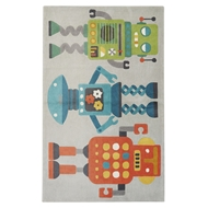 Jaipur Robots Rug From Iconic By Petit Collage Collection IBP05 - Gray/Multi-Colored