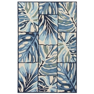 Jaipur Ten Palms Rug From Design Campus-Indoor Outdoor Collection DCI02 - Blue/Ivory