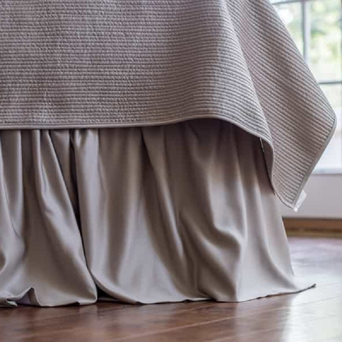 Lili Alessandra Battersea Gathered Bed Skirt - Taupe Silk & Sensibility L807SKGT