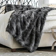 Lili Alessandra Black Fur Throw LT10005B