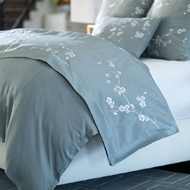 Lili Alessandra Blossom Throw - Blue Poly Silk & Silver Embroidery LT541BS-E