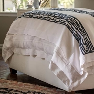 Lili Alessandra Christian Throw - White Linen & Midnight Velvet LT237AWMD-V