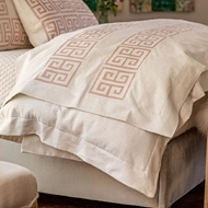 Lili Alessandra Guy Throw - Ivory Basketweave w/ Blush Velvet Applique LT447AIBL-V