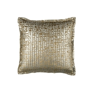 Lili Alessandra Jolie Quilted Euro Pillow - Straw Velvet & Gold Print L159LSTG