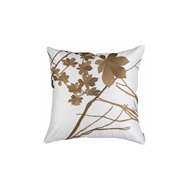 Lili Alessandra Leaf Square Ivory Silk w/ Antique Gold Machine Embroidery L309SIG-E
