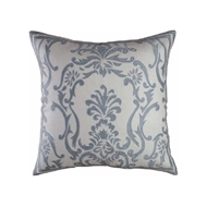 Lili Alessandra Louie European Pillow - Ivory Basket Weave & Blue Silk
