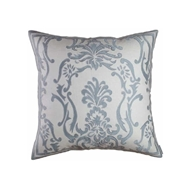 Lili Alessandra Louie Square Pillow - Ivory Basket Weave & Blue Silk