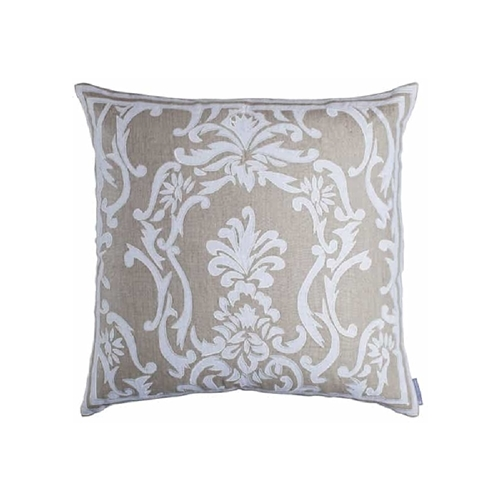 Lili Alessandra Louie Square Pillow - Natural Linen & White Linen L271ASNW-L