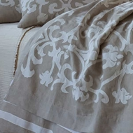 Lili Alessandra Louie Throw - Natural Linen & White Linen
