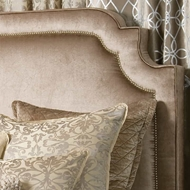 Lili Alessandra Marilyn Headboard w/ Antique Nail Heads & Champagne Velvet LH101CH-G