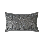 Lili Alessandra Mozart Large Rectangle Pillow - Platinum Velvet, Silver Print & Gunmetal Beads L177PDGRS-B