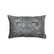 Lili Alessandra Mozart Small Rectangle Pillow - Platinum Velvet, Silver Print & Gunmetal Beads L177PGRS-B