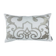 Lili Alessandra Mozart Small Rectangle Pillow - White Linen & Ice Silver Velvet L277WIS