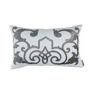 Lili Alessandra Mozart Small Rectangle Pillow - White Linen & Silver Velvet L277WS