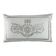 Lili Alessandra Paris Dec Pillow - White Linen & Ice Silver Velvet L252DWIS