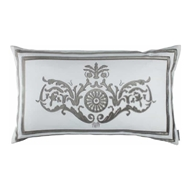 Lili Alessandra Paris Dec Pillow - White Linen & Silver Velvet L252DWS