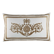 Lili Alessandra Paris Dec Pillow - White Linen & Straw Velvet L252DWST