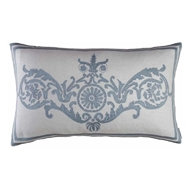Lili Alessandra Paris Large Rectangle Pillow - Ivory Basket Weave & Blue Silk L452ADIB-S