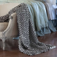 Lili Alessandra Ribbon Throw - Pewter Silk & Sensibility LT501P