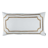 Lili Alessandra Soho King Pillow - White Linen & Straw Velvet L292KWST