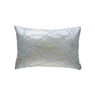 Lili Alessandra Whimsical Small Rectangle Pillow - Ivory Silk & Clear Glass Crystals L395RI