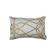 Lili Alessandra Whimsical Ivory Silk & Gold Glass Crystals - Small Rectangle Pillow