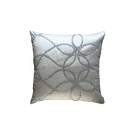 Lili Alessandra Whimsical Square Ivory Pillow - Ivory Silk & Clear Glass Crystals L395I