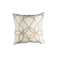 Lili Alessandra Whimsical Square Pillow - Ivory Silk & Gold Glass Crystals L395IG