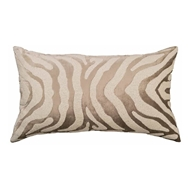 Lili Alessandra Zebra Large Rectangle Pillow - Fawn Velvet & White Beads L130DFW