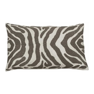 Lili Alessandra Zebra Large Rectangle Pillow - Ivory Velvet & Pewter Beads L130DIP