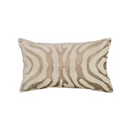 Lili Alessandra Zebra Small Rectangle Pillow - Fawn Velvet & White Beads L130FW
