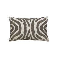 Lili Alessandra Zebra Small Rectangle Pillow - Ivory Velvet & Pewter Beads L130IP