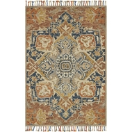 Loloi Zharah Area Rug - Rust & Blue - 100% Wool