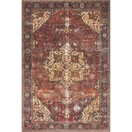 Loloi Loren Area Rug - Red & Navy - 100% Polyester