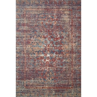 Loloi II Nour Area Rug - Red & Navy - 100% Polypropylene