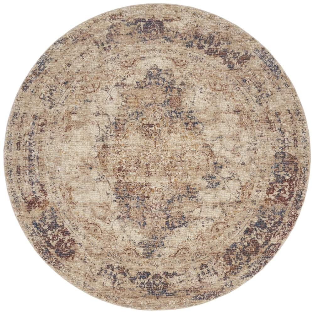 Round View - Loloi Porcia Area Rug - Ivory & Ivory - Power-loomed