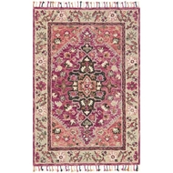 Loloi Zharah Area Rug - Raspberry & Taupe 100% Wool